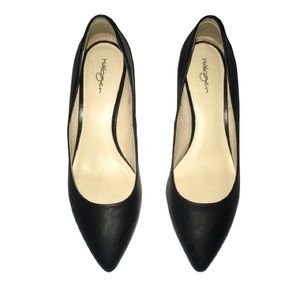 Halogen Black Leather Pointed Closed Toe Heels 8.5
